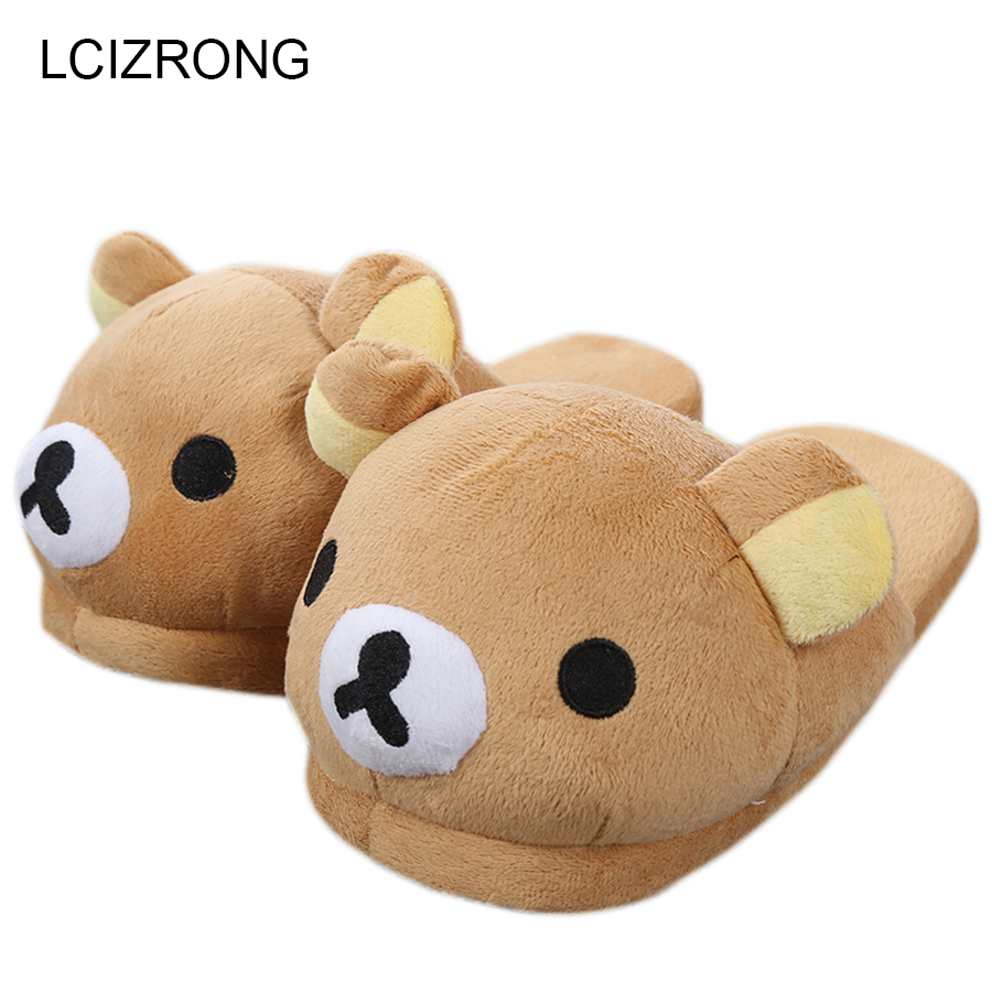 Women Anime Cartoon Bear Slippers Lovers Warm Woman Slippers Winter Plush Home Floor Shoes House Slippers Children anime cartoon monster mudkip flareon snorlax adult plush slippers home winter slippers plush toys