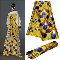 Latest african wax digital printed Spandex silk fabric nigerian design wax pattern Abrasion Resistant silk fabric