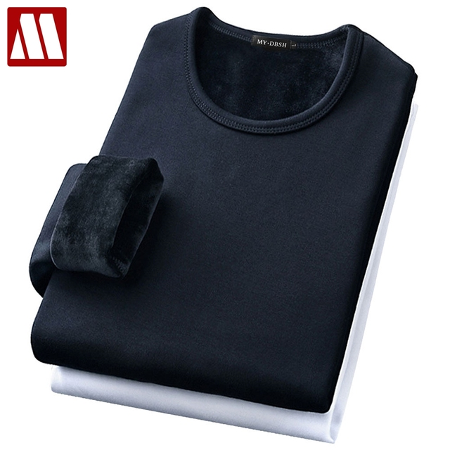 Male Underwear Shirt O-Neck Winter Bodysuit Mens Warm Thermal Undershirts Plus Velvet Basic Tops Man Cotton Undershirt Tshirt