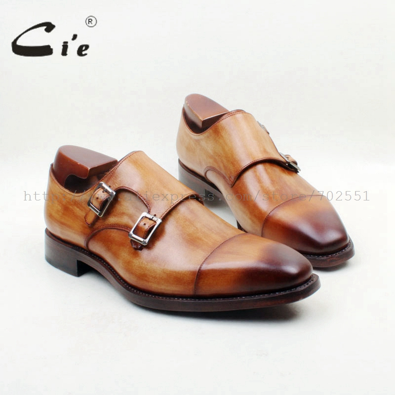 Square Cap Toe Genuine Leather Upper/Insole/Outsole Brown Color Custom Goodyear Welted Mens Dress Double Monk Straps No. MS141
