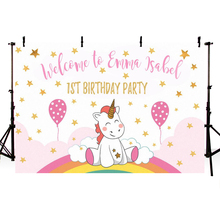 Photo Background Cute Unicorn Birthday Party Balloons Customize Backdrop Fantasy Props for Newborn Photocall Vinyl Ployster