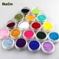 BlueZoo 18 Colores DIY Nail Art Glitter polvo del Polvo de la Moda Decoración de uñas Fuzzy Terciopelo Flocado Nail Powder Para Uñas de Arte consejos