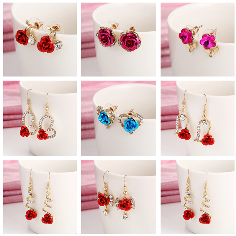 E0392 Vintage Flower Rose Earrings For Women Exquisite Gold Color Heart Stud Earrings Statement Wedding Jewelry