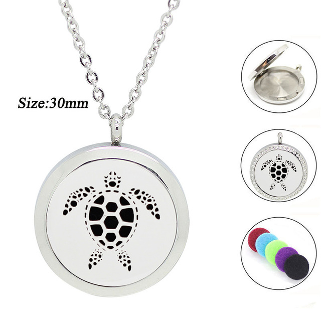 316l stainless steel essential oil diffuser necklace turtle 30mm 316l stainless steel essential oil diffuser necklace turtle 30mm magnetic aromatherapy pendant necklace for women aloadofball Gallery