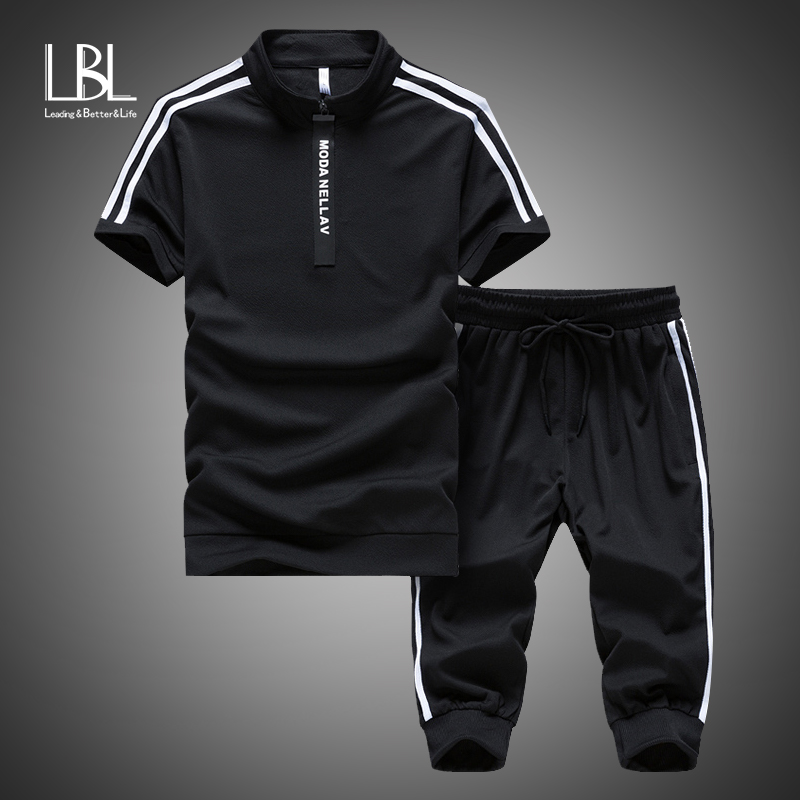 Summer New Men's Sets T Shirts+Shorts Two Pieces Sets Casual Tracksuit 2019 Tide Brand Tshirt Suits Gyms Fitness Sportswears Set