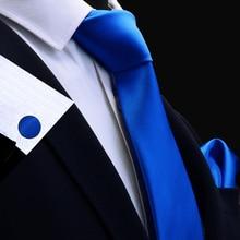 RBOCOTT Necktie Handkerchief Cufflink Set Red Solid Tie