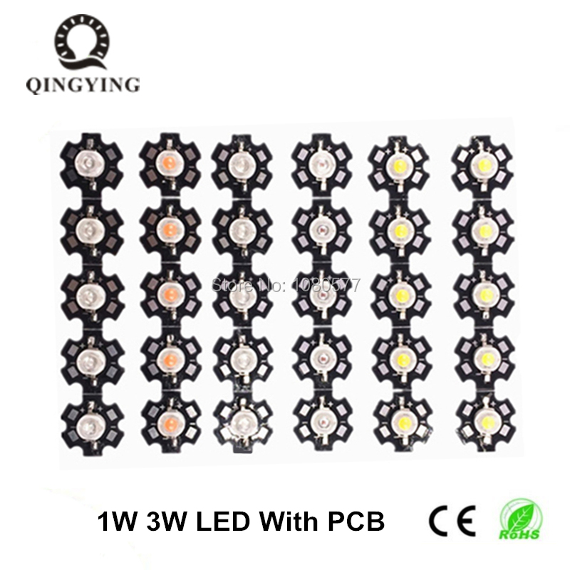 100pcs 1W 3W High Power LED White Warm White Cold White Yellow Deep Red Green Blue 445nm 660nm Light Beads With 20mm Star Pcb