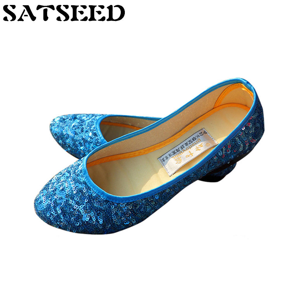 New Spring Old Beijing Sequined Cloth Shoes Women Dance Women's Shoes Driving Casual Comfortable Shoes Bling Bling Rubber Sole vintage embroidery women flats chinese floral canvas embroidered shoes national old beijing cloth single dance soft flats