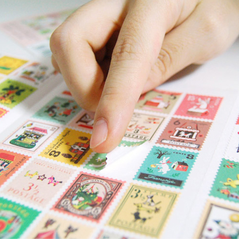 XF18 80pcs 4 Sheets Creative Stamp Design DIY Decorative Stickers Phone Bottle Sealing Decor Stick Label Kids