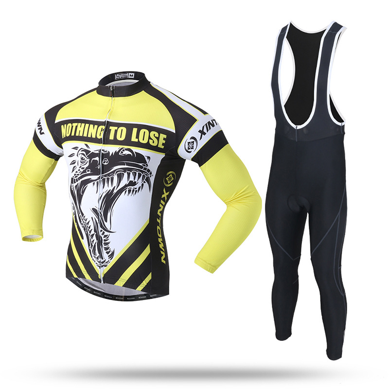 New Men Cycling Sets Suit Yellow Black Anti-sweat Quick Dry Long Jersey and Bib Pant 3D Silica GEL Pad MTB Bike Bicycle Clothing quick dry water resistant black gel eyeliner w brush black golden transparent 7g