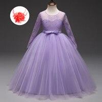 Długa Suknia Dziewczyna Dzieci Sheer Rękawem Formalna Party Dress Dziewczyny Ślubne Eleganckie Koronki Tulle Flower Girl Dresses Komunii Świętej