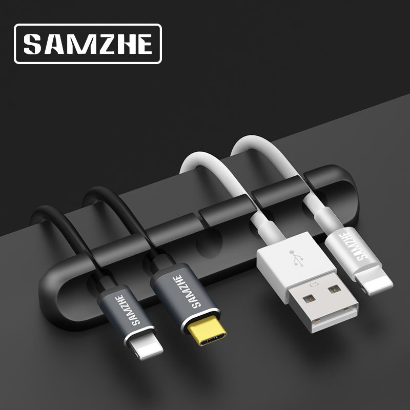 SAMZHE Cable Winder 5Clips USB Cable Organizer Desk Cable Holder For Mouse Headphone Earphone Charger Cable in Office At Home orico cable winder silicone usb cable organizer flexible cable management clips cable holder for mouse headphone earphone