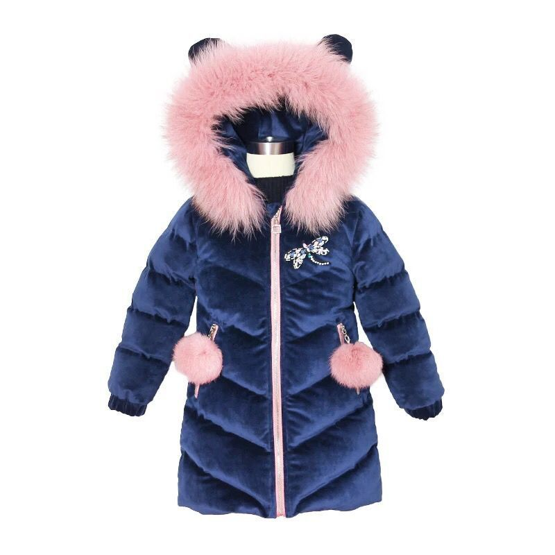 2018 Girls Winter Velvet Coat Children Jackets Cotton Parkas Kids Winter Outerwear Thicken Warm Clothes Baby Girls Long Clothing