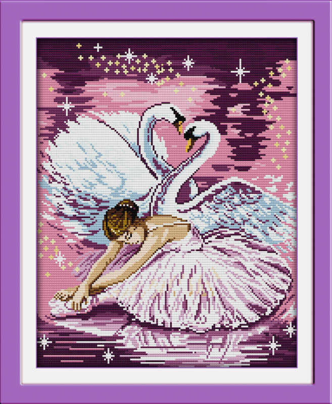 Dance of the swan cross stitch kit people 18ct 14ct 11ct count print canvas stitches embroidery DIY handmade needlework