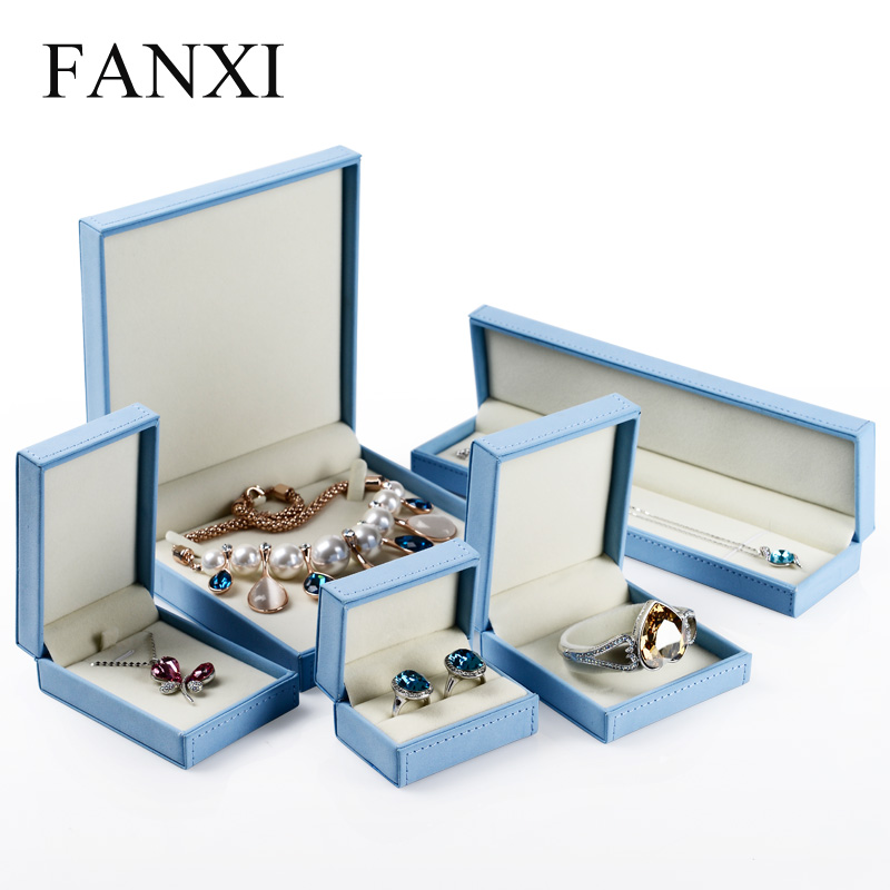 fanxi stylish blue jewelry display gift box ring earring. Black Bedroom Furniture Sets. Home Design Ideas