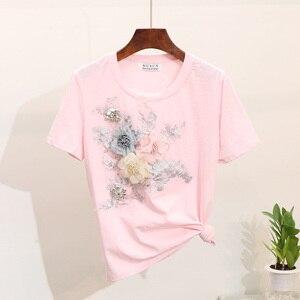 Image 5 - Amolapha 女性ヘビーワーク刺繍 3D 花 Tシャツ + ジーンズ 2 本用セット夏のカジュアルスーツ