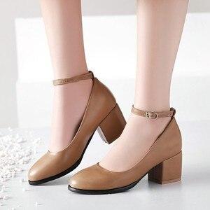 Image 4 - ขนาดใหญ่ขนาด 11 12 13 14 สุภาพสตรีรองเท้าส้นสูงรองเท้าผู้หญิงรองเท้าผู้หญิงปั๊มรอบหัว,ปากตื้น, กลางส้นหนา one word buckle