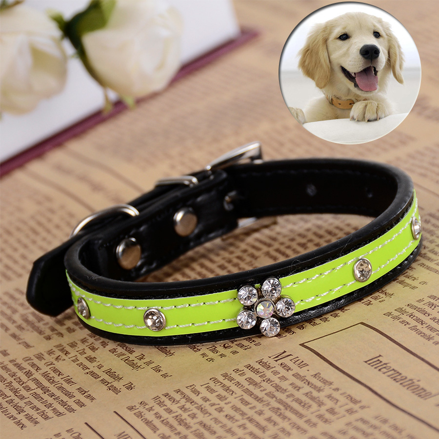 Adjustable Pu Leather Dog Collars Bling Rhinestones Flower Small Puppy Pets Dogs Cats Neck Strap Size S M