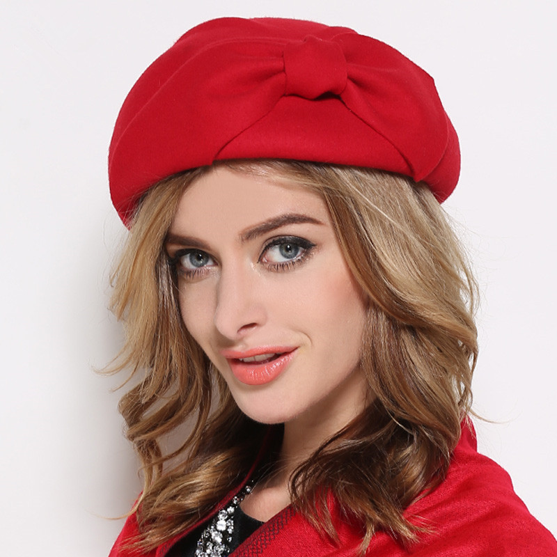 Beret-Caps Pillbox Hats England Autumn Girls Vintage Winter Women Bowknot Formal Wool