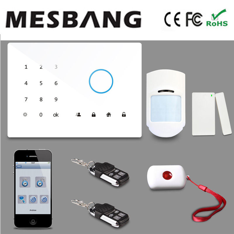 Mesbang gsm touch screen wireless alarm system app with English, Russian, Spanish, German, French free shipping