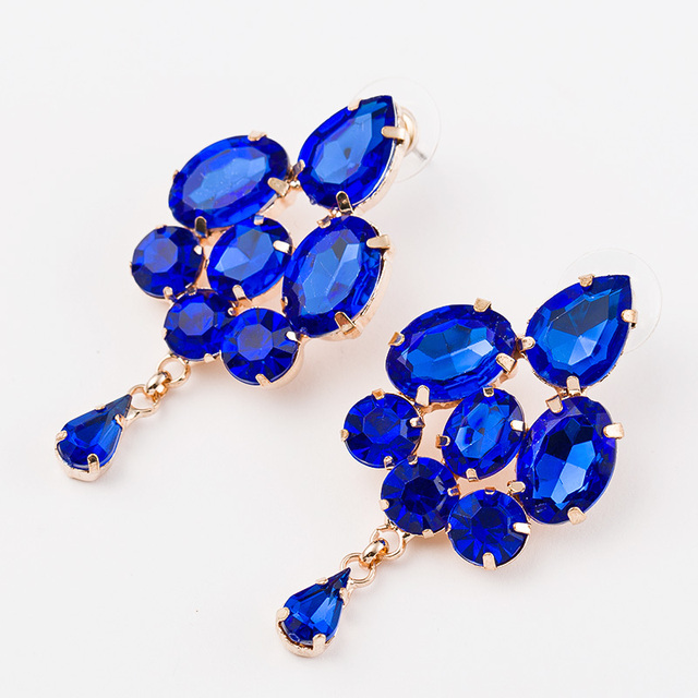 2016 Fashion jewelry blue crystal artificial gem patchwork flower ladies sexy big gold color drop earrings for women #E025