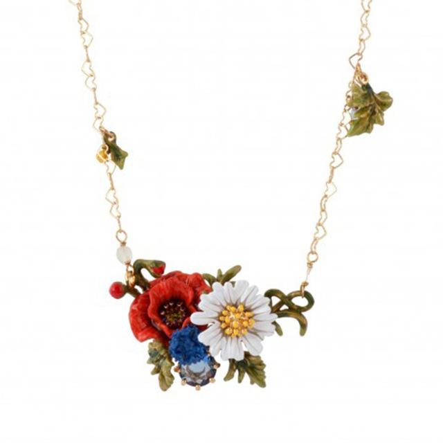 Mano Gules Esmalte Esmalte Flor de la Margarita Blanca Larga Cadena Suéter Cadena de Dinero Mujer Flores Y Plantas de la Serie