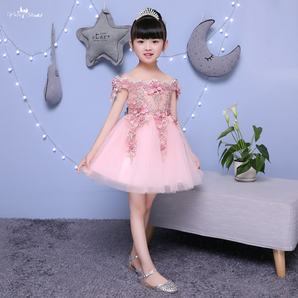 TF010 Boat Neck Deep Pink 3d   Flowers   Applique Primera Comunion Vestido De Festa   Flower     Girl     Dresses
