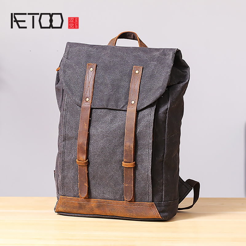 AETOO Casual Canvas Shoulder bag mens retro casual large capacity backpack student bagAETOO Casual Canvas Shoulder bag mens retro casual large capacity backpack student bag