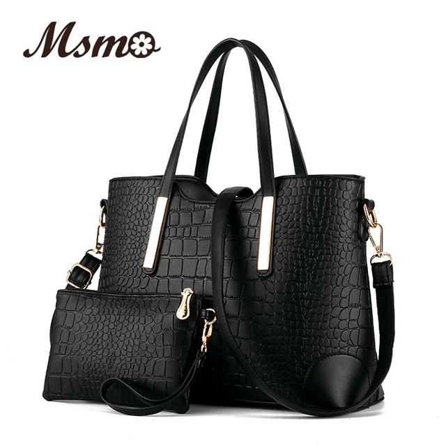 Новый 2016 женщин сумки кожи рук мешок крокодил crossbody сумки на ремне сумки посыльного сцепления сумка + кошелек 2 компл. мешок