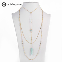 America and Europe pop multilayer metal chain fine glass beads beaded necklace jewelry fashion women