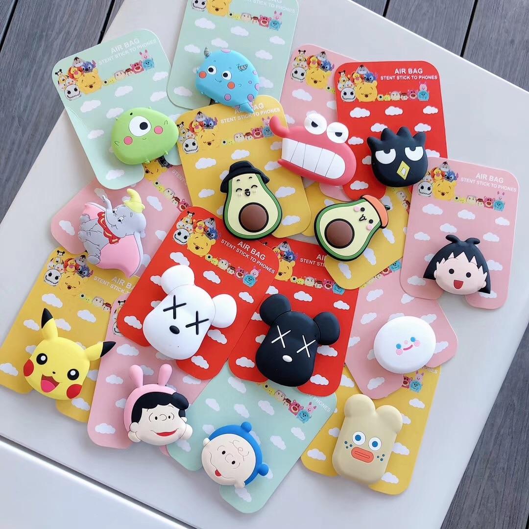 Universal Cute Cartoon Monsters Air Bag Cell Phone Bracket Cute Avocado Dumbo Sakura Phone Stand Finger Holder