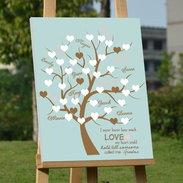 Personalisierte Leinwand Holz Gastebuch Hochzeit Baum Mit Herz