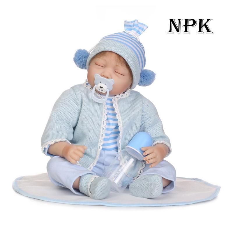 купить 55cm Silicone Reborn Baby Doll NPK Kids Playmate Girls Baby Reborn Dolls Soft Lifelike Sleepping Doll Children Birthday Gifts по цене 4034.29 рублей