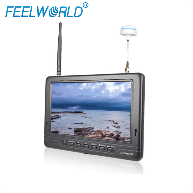 Feelworld 7inch 1024x600 ultra-thin HDMI Wireless Monitor With Built-in Battery Dual 5.8G 32CH Diversity Receiver FPV718B