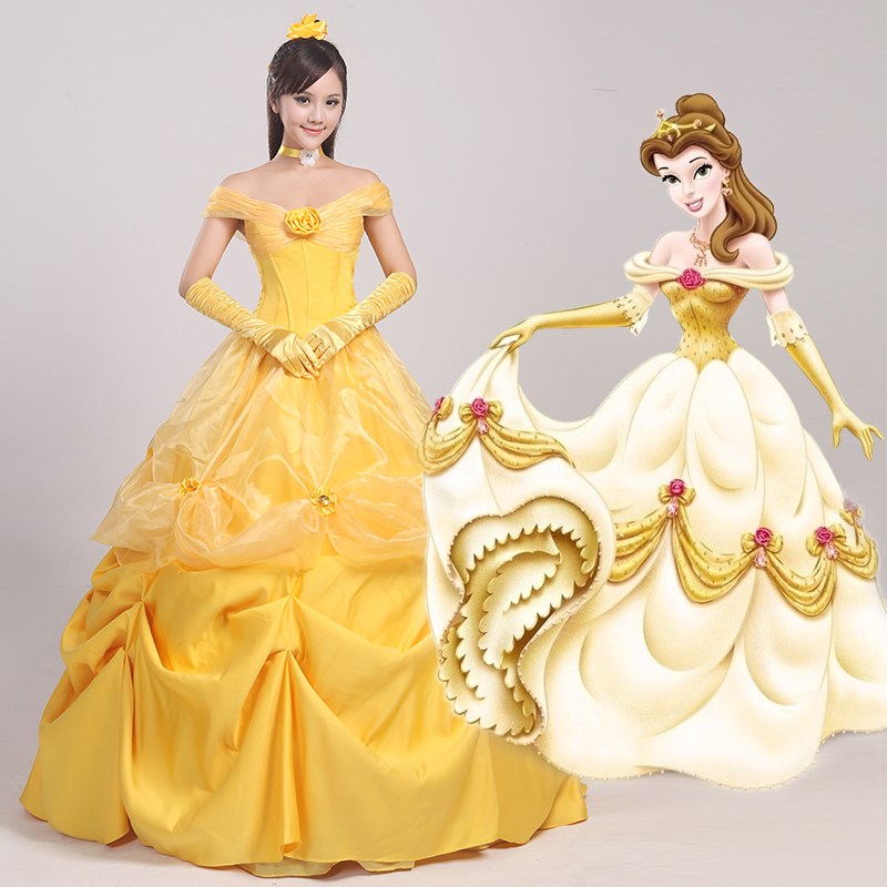 Ainiel Custom made the Beauty and the Beast Princess Belle Cosplay Costume Gown Party Dress For Women Girls and  Female