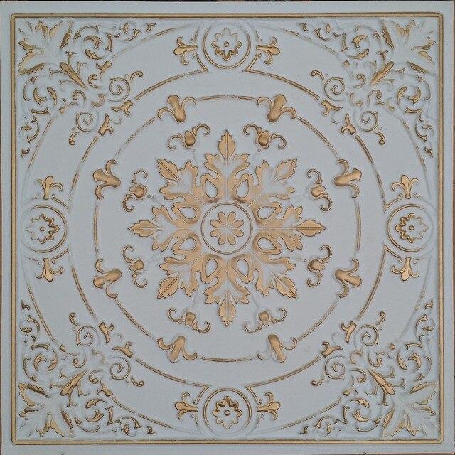 Pl18 Faux Tin Ceiling Tiles White Gold Color Embossed Cafe Club Pub Decorative Wall 10tiles Lot