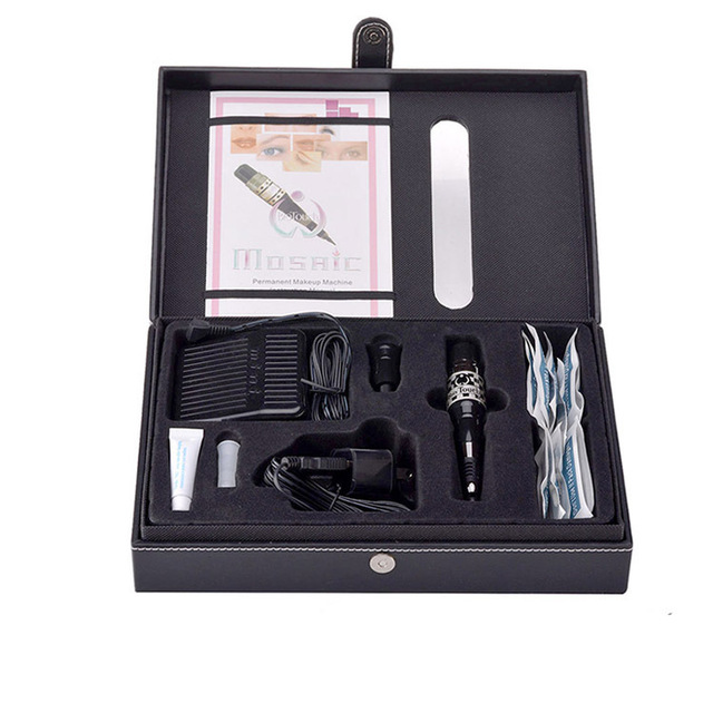 1Set Complete Cosmetic Tattoo Kits Mosaic Permanent Makeup Machine Kit with Foot Pedal Tattoo Gun Supply