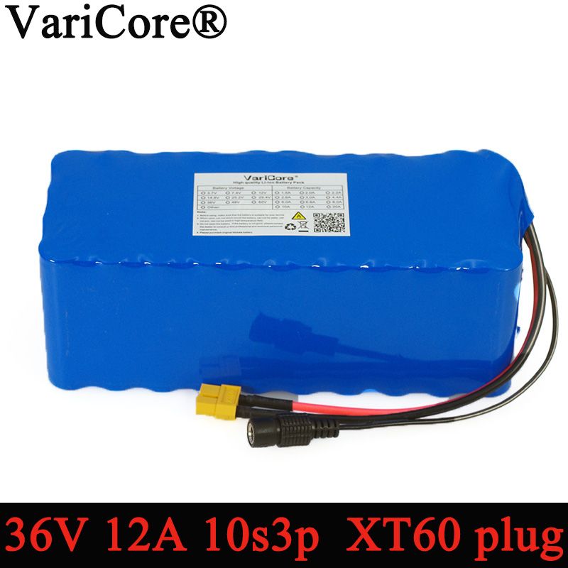 36V 12Ah 18650 Lithium Battery pack High Power XT60 plug Balance car Motorcycle Electric Bicycle Scooter with BMS backup power
