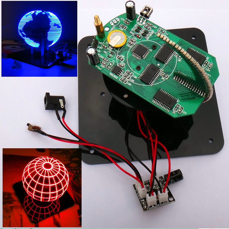 Spherical rotary LED kit 56 lamp POV rotary clock parts DIY electronic welding rotary lamp Kit lm358 breathing light parts electronic diy fun making kit led blue flashing kit