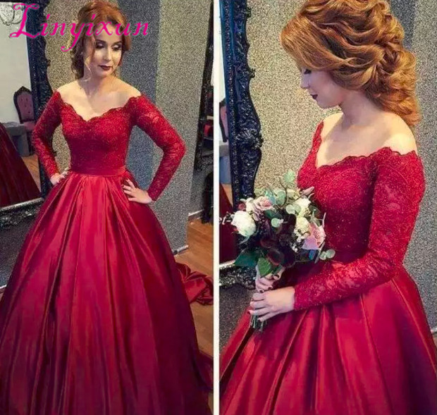 Vintage Long Sleeve Dark Red Lace   Prom     Dresses   2018 Off-Shoulder Appliques Sequins A-Line Special Occasion   Dresses