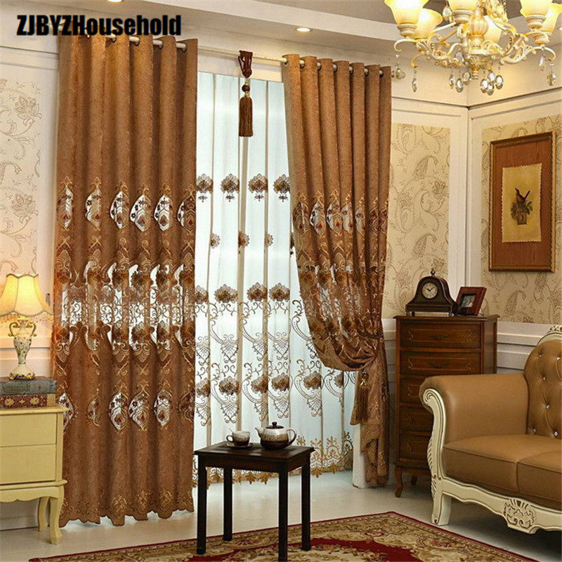 Cloth Curtain Hollow Out Water Soluble Embroidery Room Chenille Window Shading Cloth Curtains For Living Dining Room Bedroom