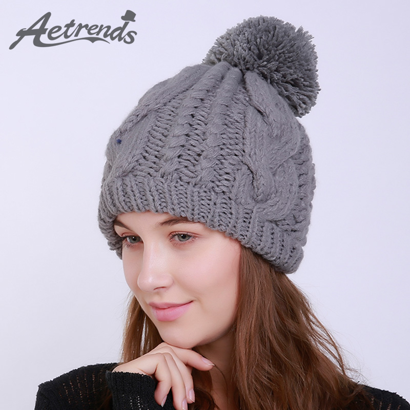 [AETRENDS] 2017 Winter Beanie Hats for Women Warm Knitted Female Caps Beanies Pompom with Top Ball Z-6013 2016 new beautiful colorful ball warm winter beanies women caps casual sweet knitted hats for women outdoor travel free shipping