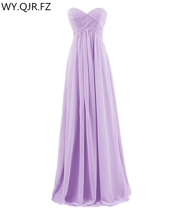 LLY-ZS#Ball gown purple orange Strapless long   bridesmaids     dresses   bride wedding toast   dress   cheap wholesale custom women fashion