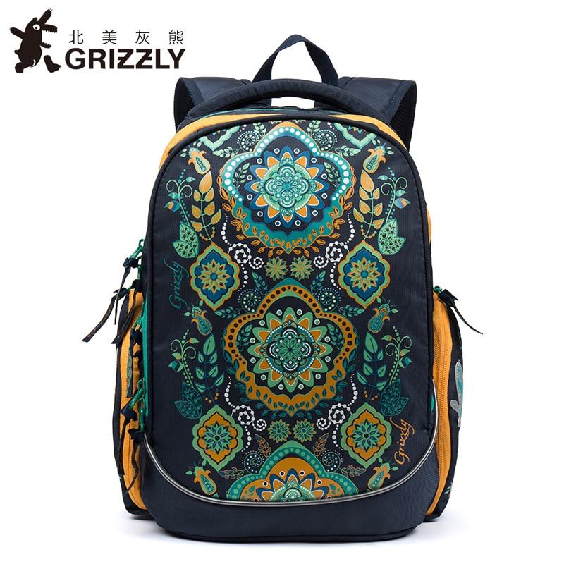 GRIZZLY Kids Primary School Bags for Children School Backpack Floral Waterproof Orthopedic Backpacks for Girl Grade 1-4 Kids Bag