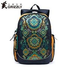 fdd93adb635f GRIZZLY Kids сумки для начальной школы для детей школьный рюкзак цветочный  водостойкий ортопедический рюкзаки для девочки