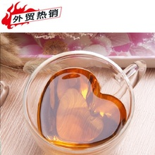 christmas decorations for home 180ml/240ml Heart Love Shaped Lover Coffee Double Wall Layer Transparent GlassTea Bottle Mug Gift