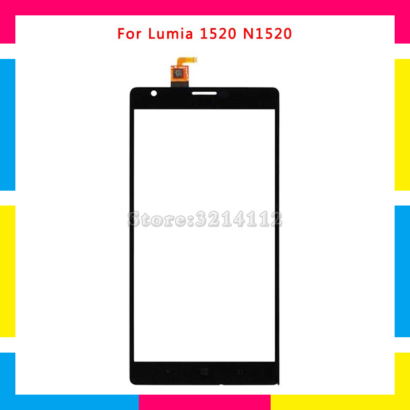 5Pcs/lot High quality Touch Screen Digitizer Sensor Outer Glass Lens Panel For Nokia Lumia 1520 N1520 Free shipping