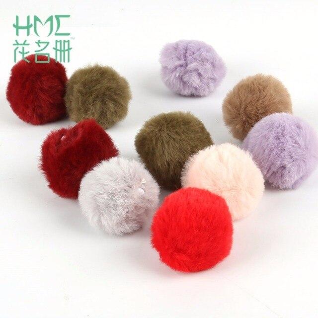 6 pcs 4 cm Multi Cor Linda Bola De Pêlo Pompom Para Chaveiro Material Macio Bonito Pom Pom Porte Clef Para mulheres Charme Saco de Brinquedos