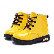 Dzieci Buty dziewczyny chłopcy PU skórzane koronki up High dzieci sneakers Girl Baby Shoes Sport jesień zima dzieci buty tanie tanio buty na co dzień Gumowe 5T 12M 6T 9T 8T 24M 7T 10T 4T 3T Masz Sznurowane Wodoodporny JOYHOPY Pasuje do rozmiaru Weź swój normalny rozmiar