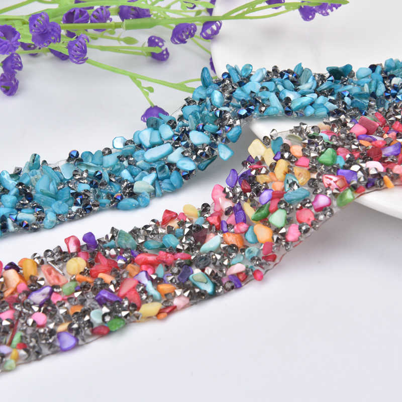 New 1yrad Lot Rhinestone Trim Crushed Stone And Crystal Mesh Strass Chain  Banding Hot Fix 4b22d61d99c9